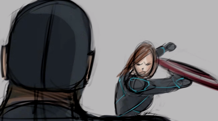 Captain America vs Black Widow in Civil War storyboard animation
