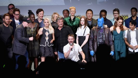 SAN DIEGO, CA - JULY 23: (L-R) Marvel Studios President Kevin Feige, director James Gunn, actors Michael Rooker, Chris Pratt, Zoe Saldana, Karen Gillan, Pom Klementieff and Dave Bautista attend the Marvel Studios presentation during Comic-Con International 2016 at San Diego Convention Center on July 23, 2016 in San Diego, California. (Photo by Kevin Winter/Getty Images)