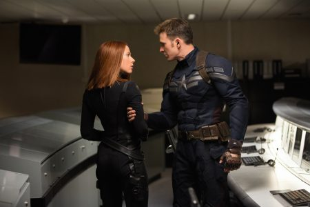 """Marvel's Captain America: The Winter Soldier"" L to R: Black Widow/Natasha Romanoff (Scarlett Johansson) & Captain America/Steve Rogers (Chris Evans) Ph: Zade Rosenthal © 2014 Marvel. All Rights Reserved."